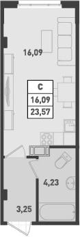 Студия, 23.57 м²– 2
