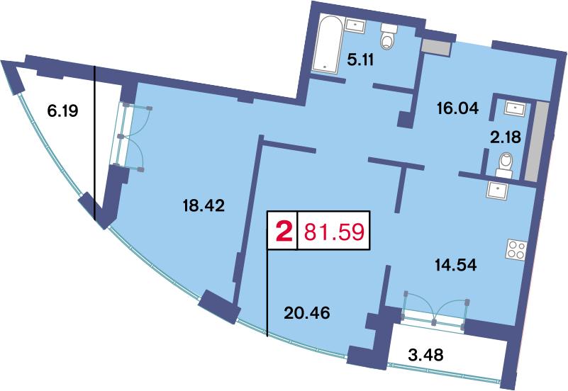 2-к.кв, 86.42 м²