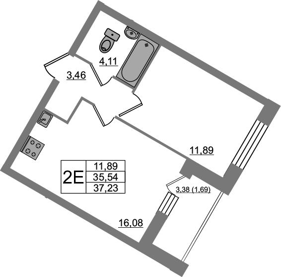 2-к.кв (евро), 38.92 м²
