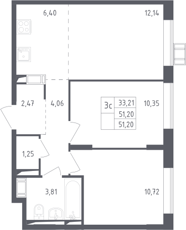 3Е-комнатная квартира, 51.2 м², 14 этаж – Планировка