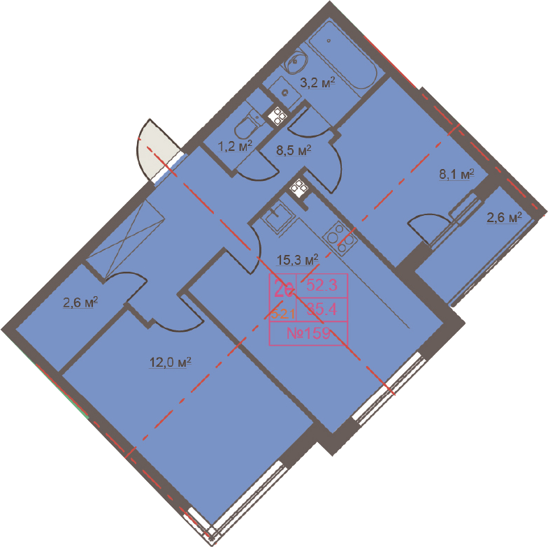 3-к.кв (евро), 53.7 м²