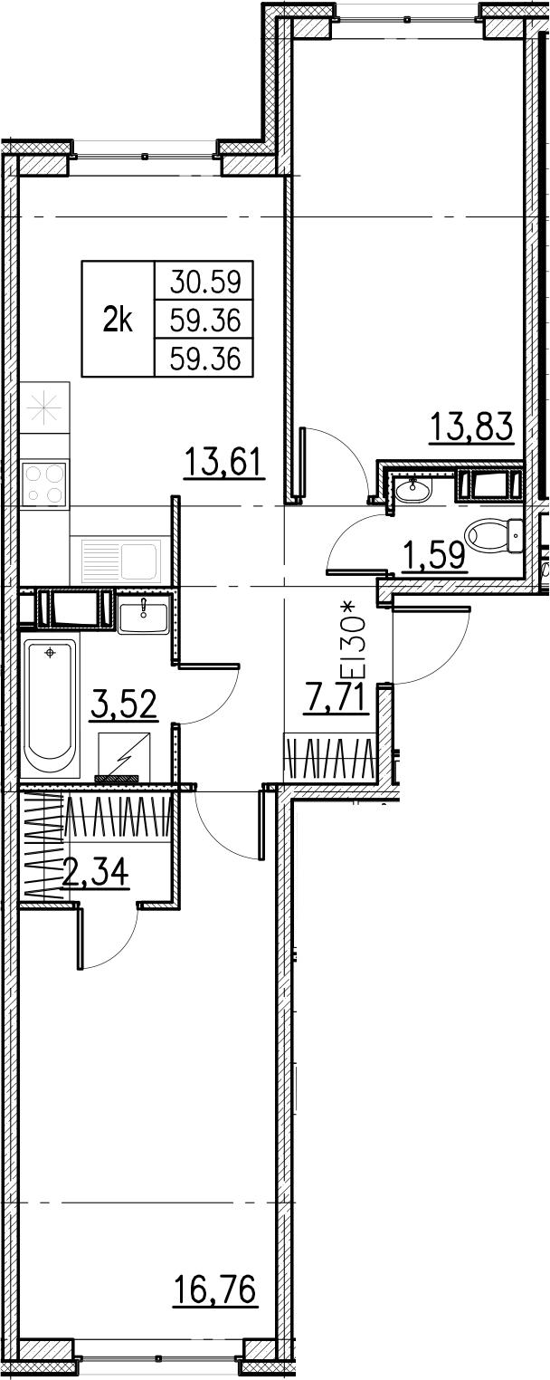 2-комнатная, 59.36 м²– 2