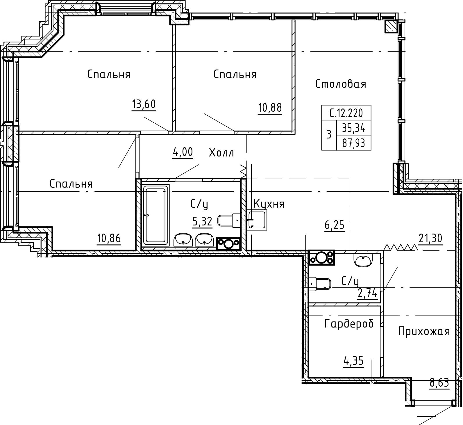 4Е-к.кв, 87.93 м²