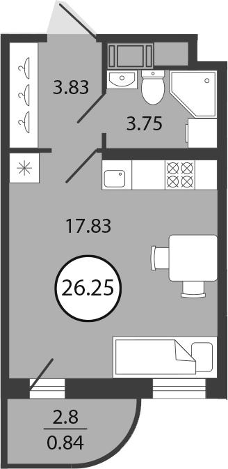 Студия, 26.25 м², 2 этаж – Планировка