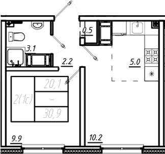 2Е-к.кв, 30.9 м²