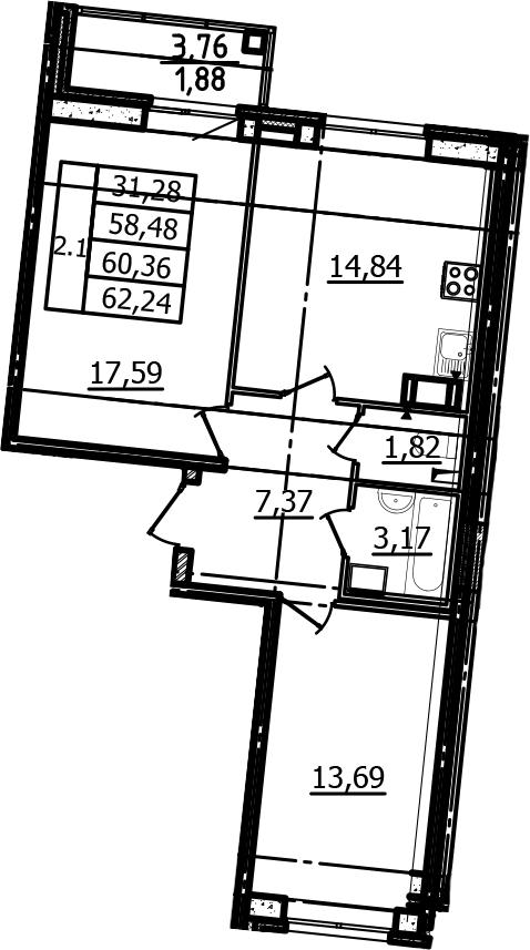 2-к.кв, 58.48 м², от 3 этажа