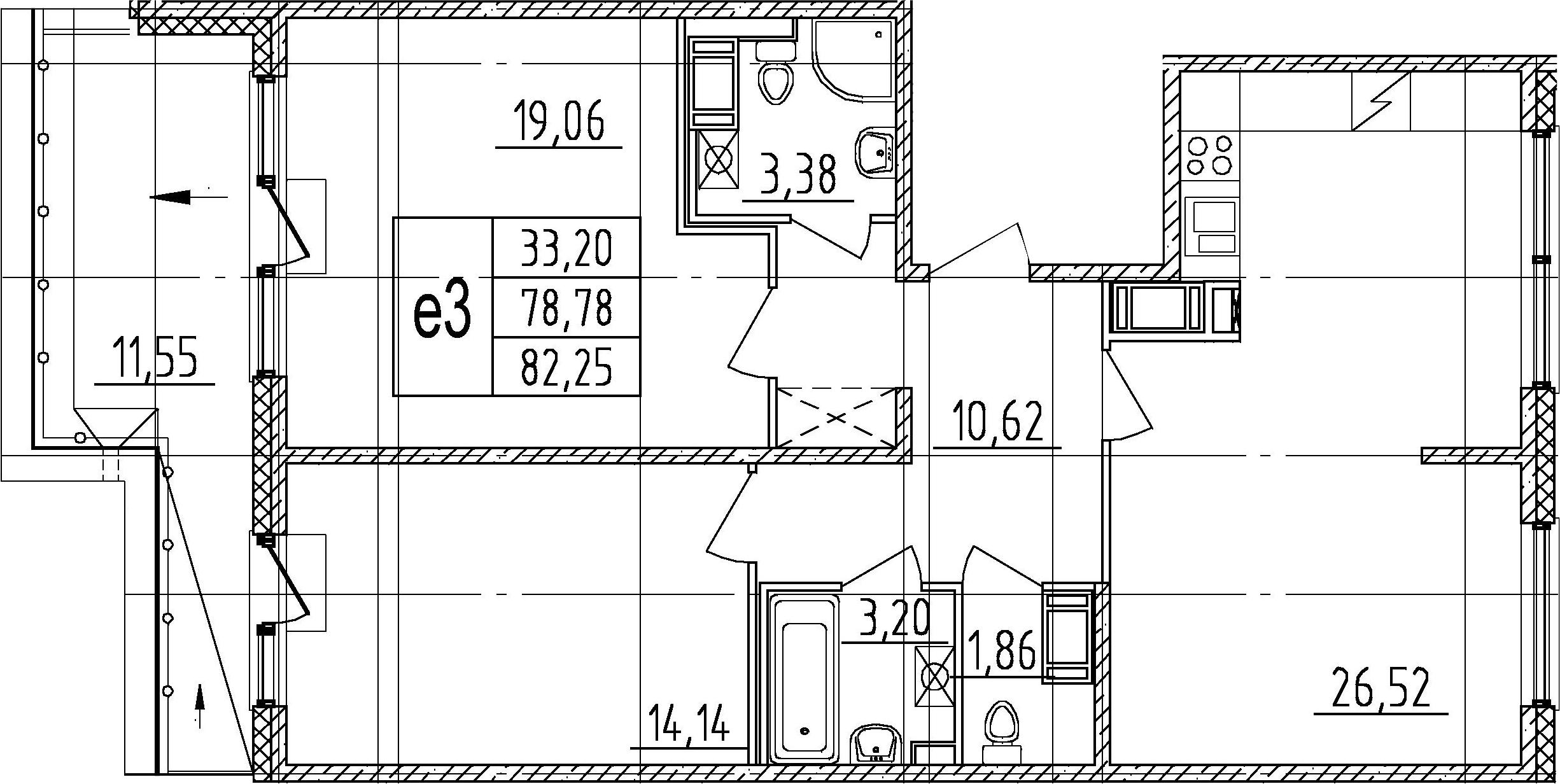 3Е-комнатная, 78.78 м²– 2