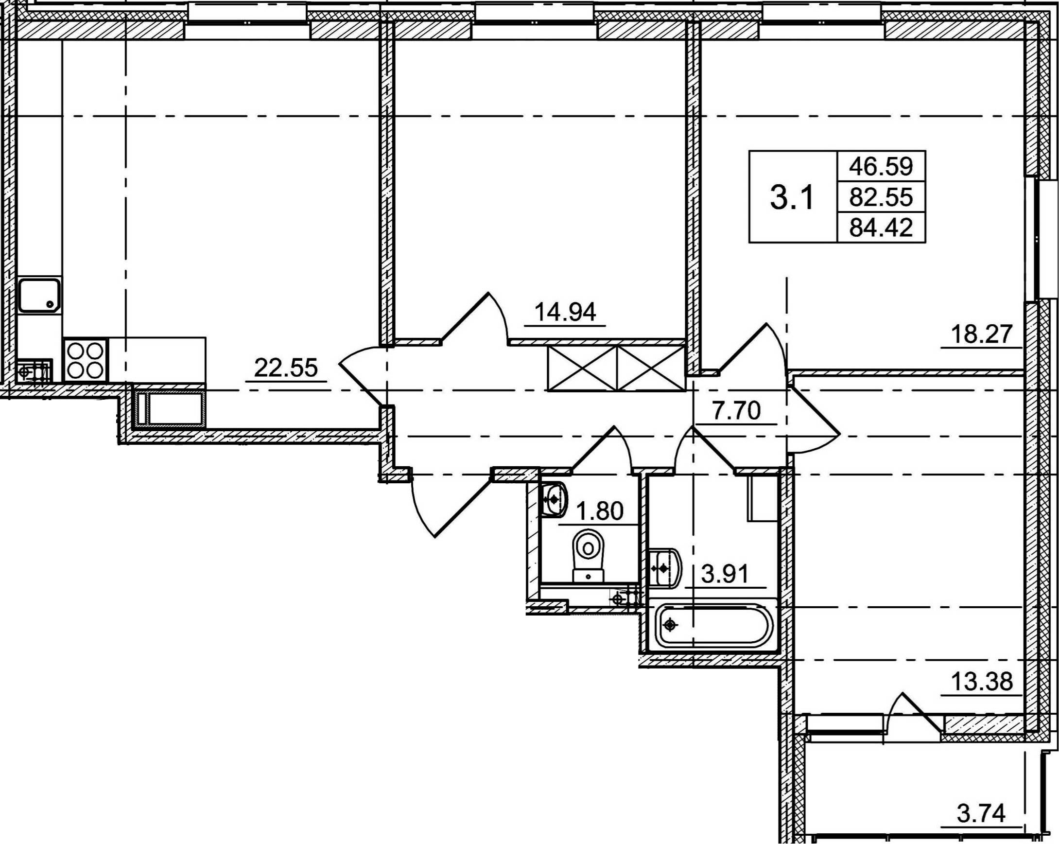 4Е-к.кв, 82.55 м²