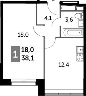 1-к.кв, 38.1 м², от 7 этажа