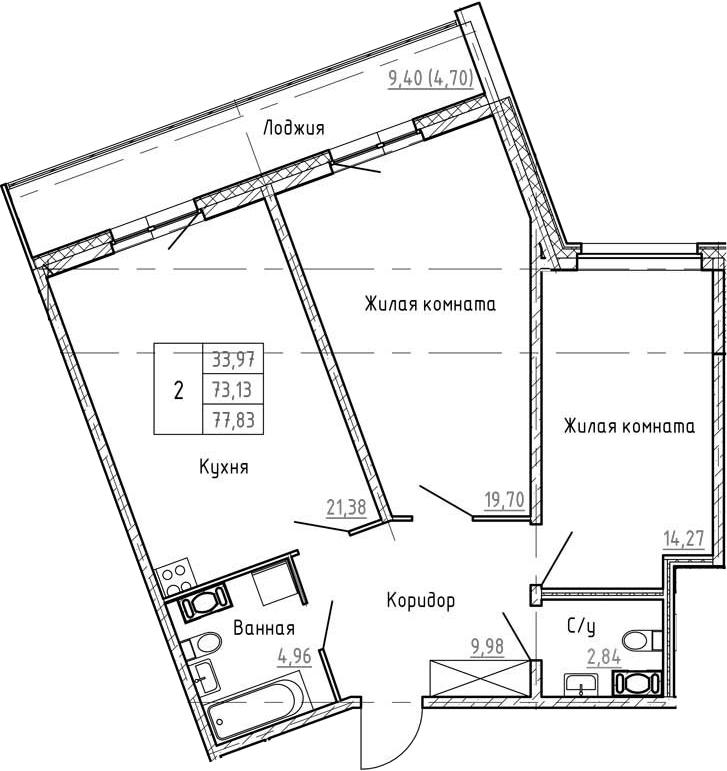 3Е-к.кв, 77.83 м², от 3 этажа