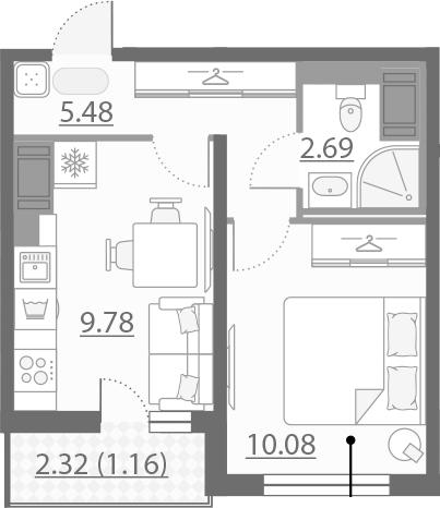 1-к.кв, 30.35 м²