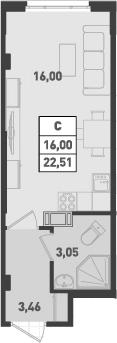 Студия, 22.51 м²– 2