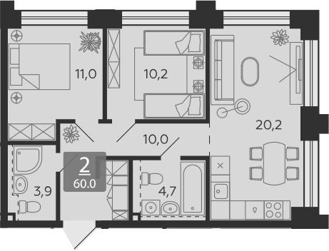 3Е-комнатная, 60 м²– 2