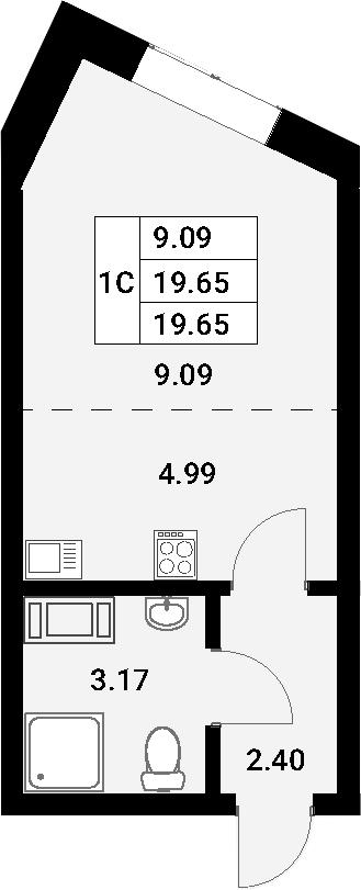 Студия, 19.65 м²