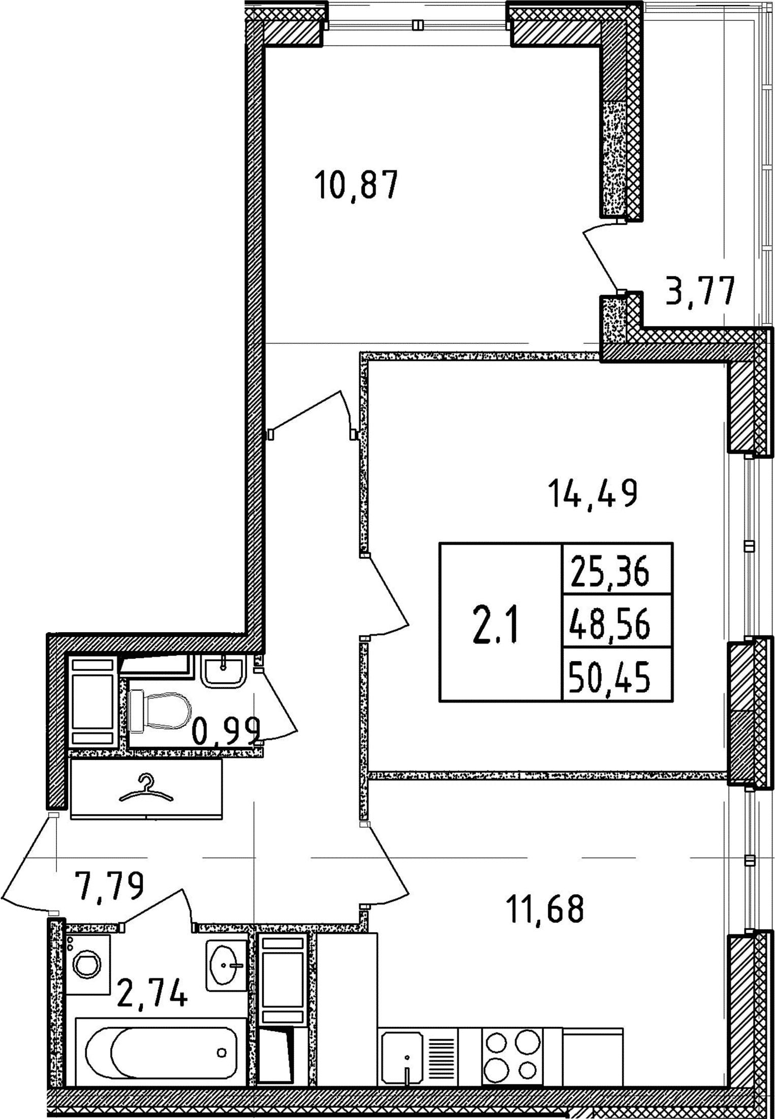 2-к.кв, 48.56 м²