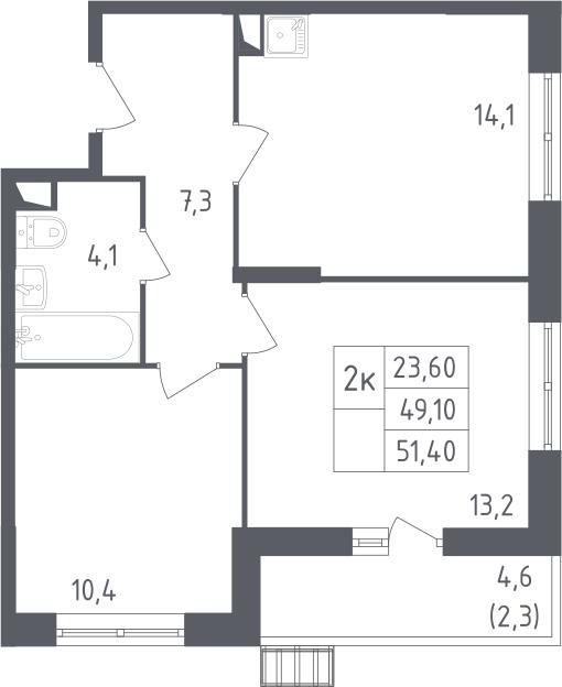 2-комнатная квартира, 51.4 м², 2 этаж – Планировка
