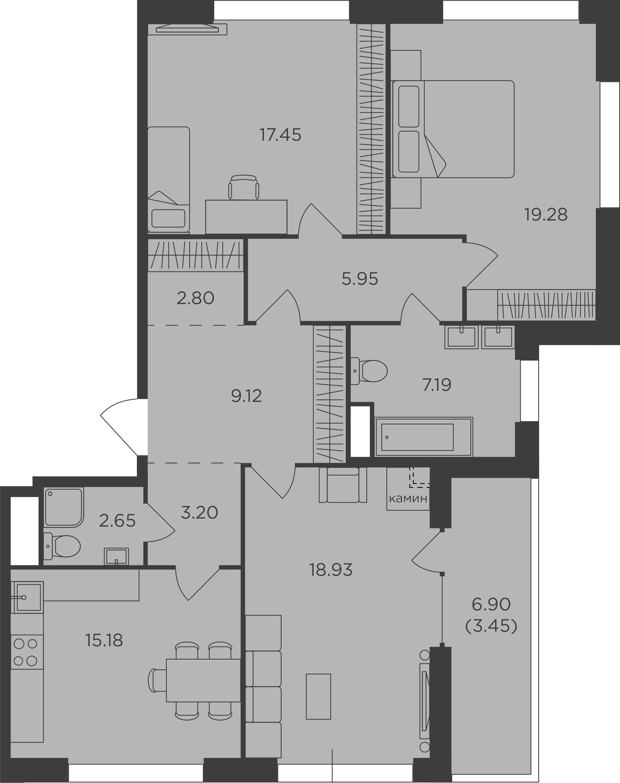 3-комнатная, 105.2 м²– 2