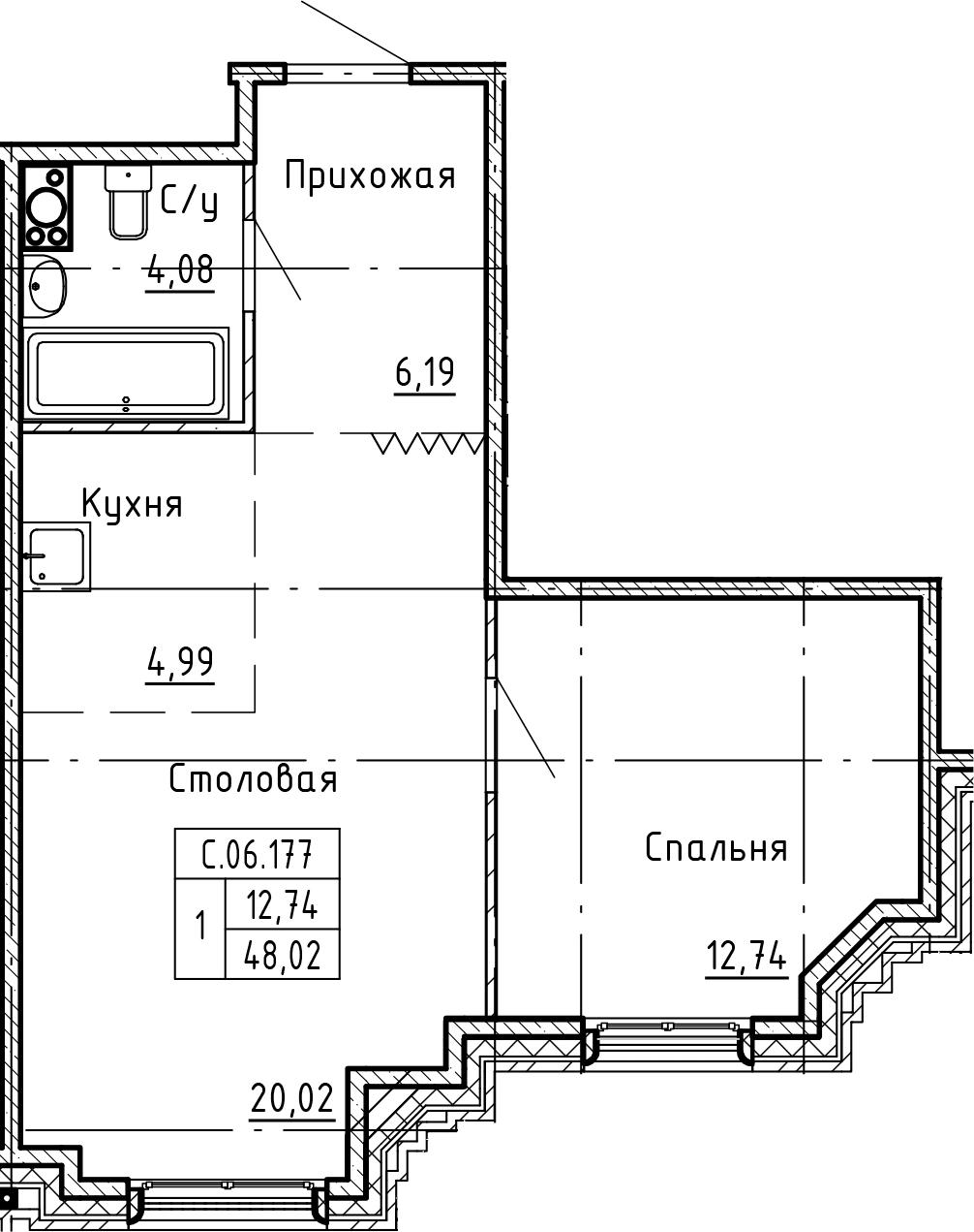 1-к.кв, 48.02 м², 6 этаж