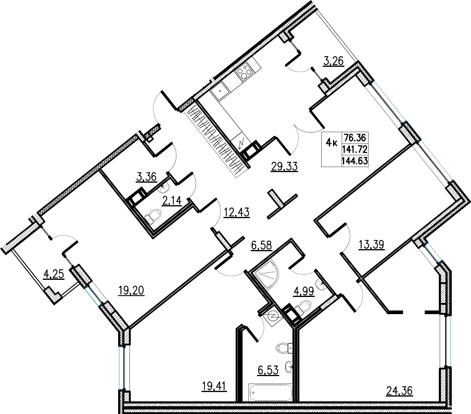 5Е-комнатная, 144.63 м²– 2