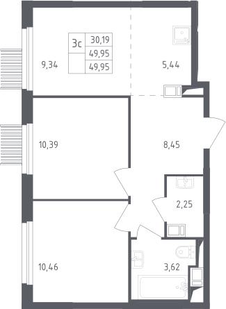 3Е-к.кв, 49.95 м², от 6 этажа