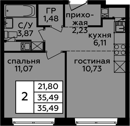 2-к.кв (евро), 35.49 м²