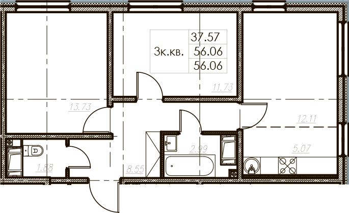3Е-комнатная, 56.06 м²– 2