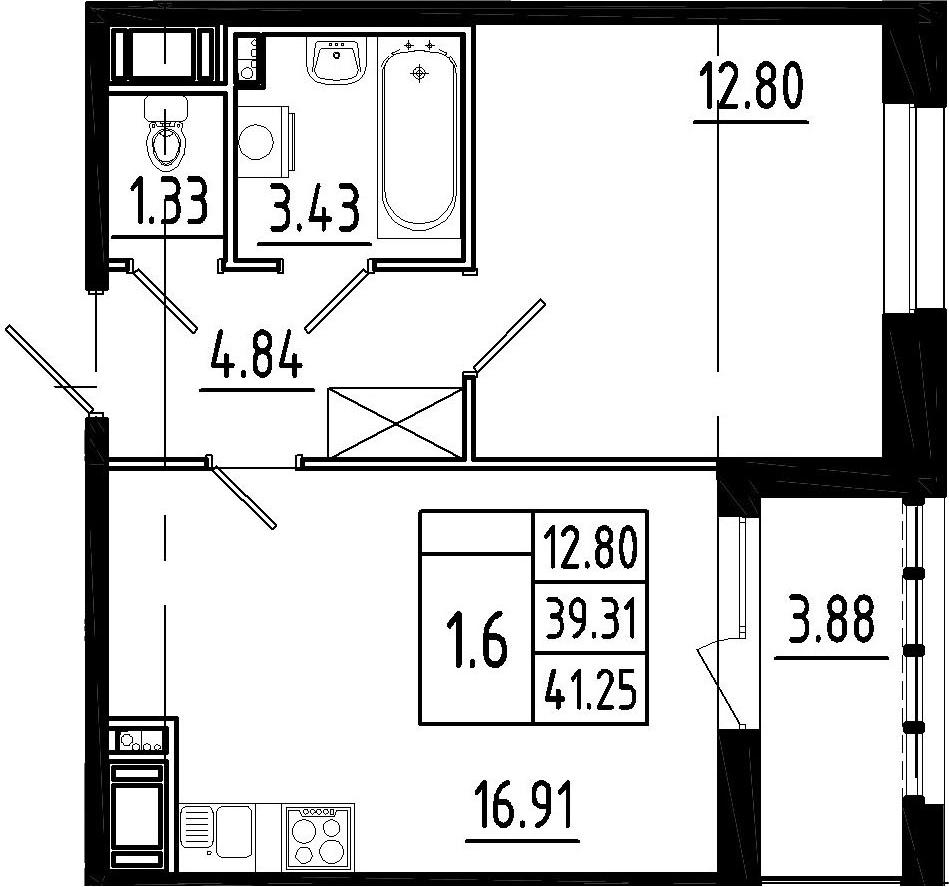 2-к.кв (евро), 43.19 м²