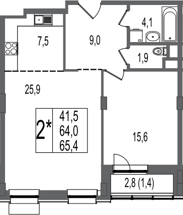 2Е-комнатная, 65.4 м²– 2