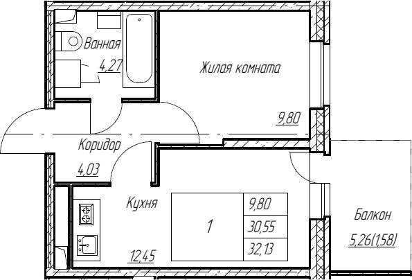 2Е-к.кв, 32.13 м², 2 этаж