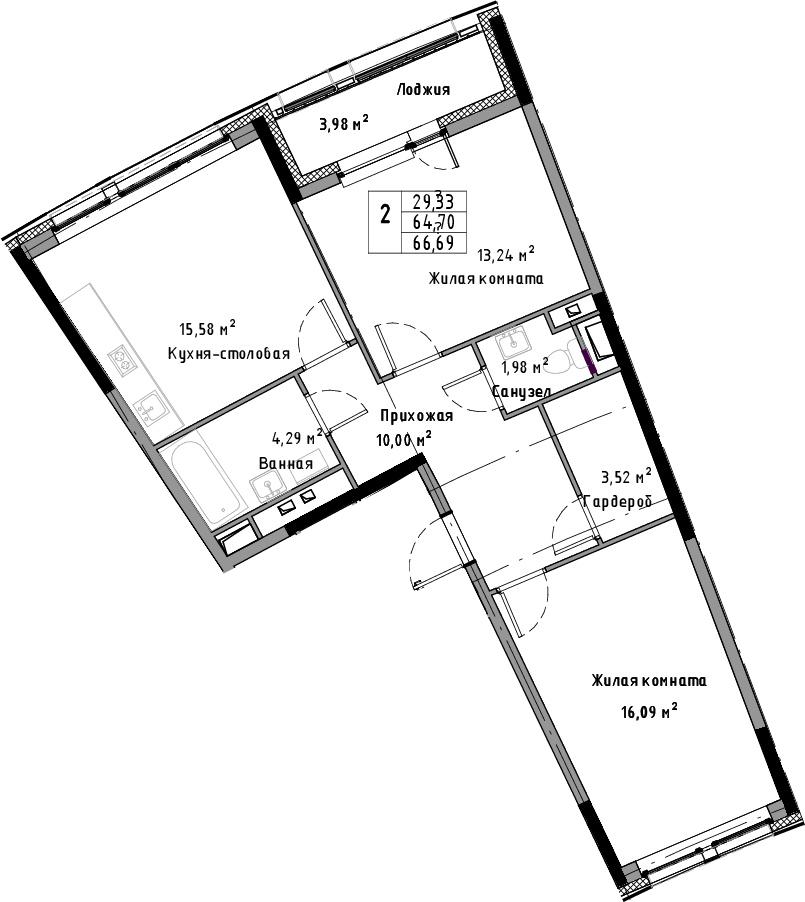 3Е-к.кв, 66.69 м²