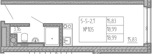 Студия, 18.99 м², от 8 этажа