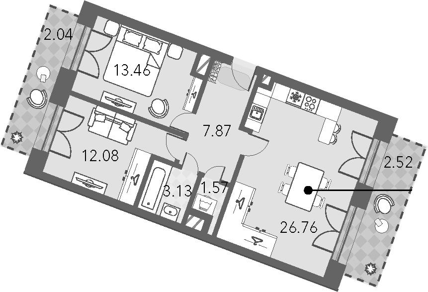 3Е-комнатная, 69.43 м²– 2