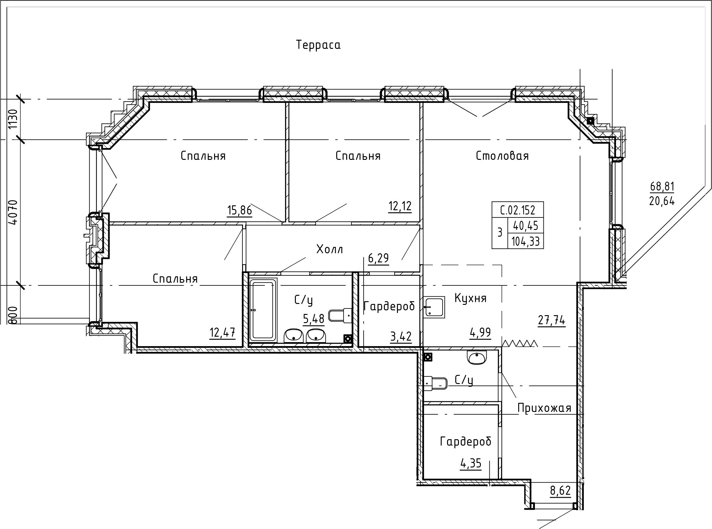 4Е-комнатная, 124.97 м²– 2