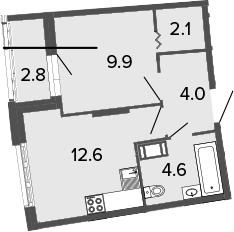 1-к.кв, 33.2 м², от 5 этажа