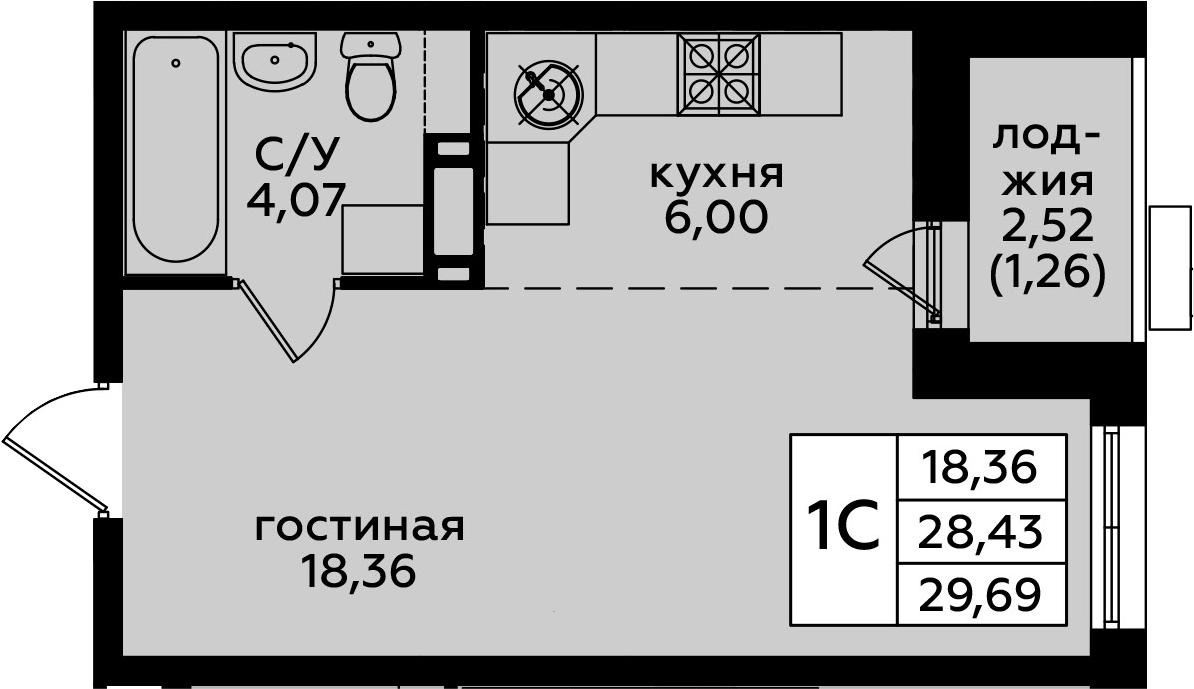 Студия, 29.69 м²
