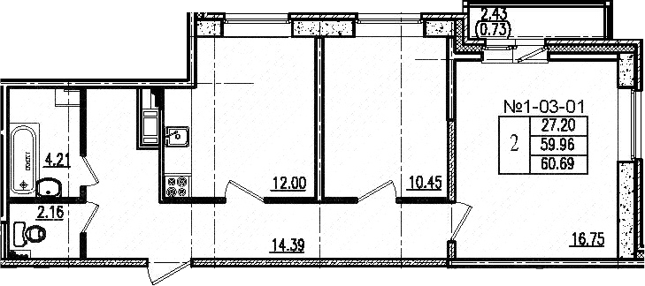 2-к.кв, 60.69 м², от 6 этажа