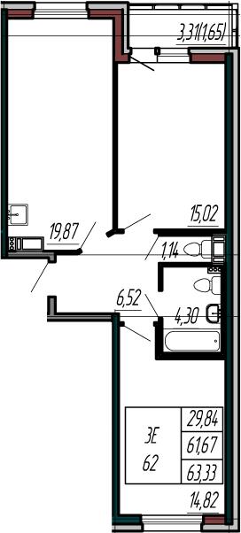 3-к.кв (евро), 64.98 м²