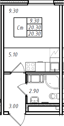 Студия, 20.3 м², 12 этаж