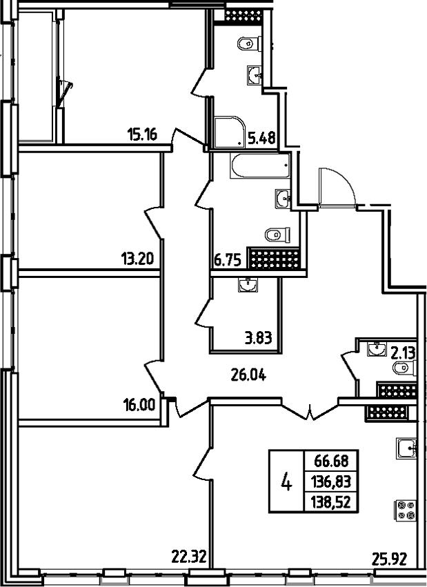 5Е-комнатная, 138.52 м²– 2