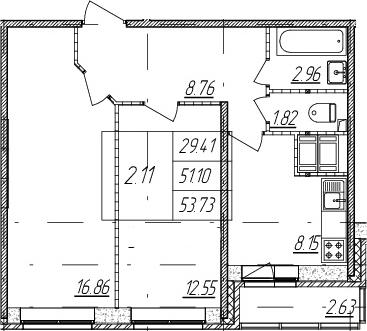2-к.кв, 51.1 м²