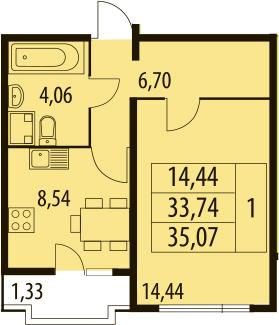 1-комнатная, 35.07 м²– 2