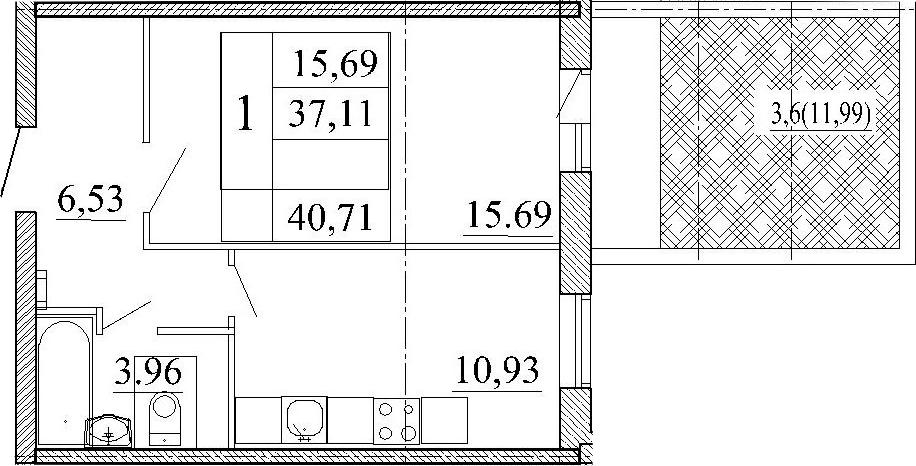 1-к.кв, 49.11 м²