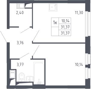 1-комнатная, 31.37 м²– 2
