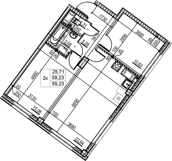 3Е-к.кв, 59.23 м², 2 этаж