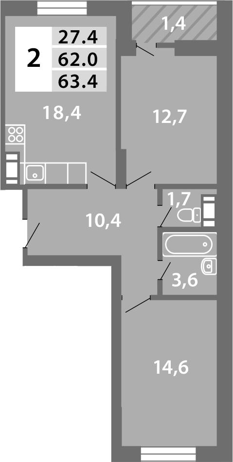 3Е-комнатная, 62.97 м²– 2