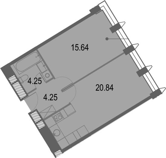 2Е-комнатная, 44.98 м²– 2