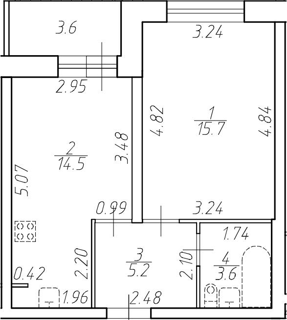 1-к.кв, 42.6 м²