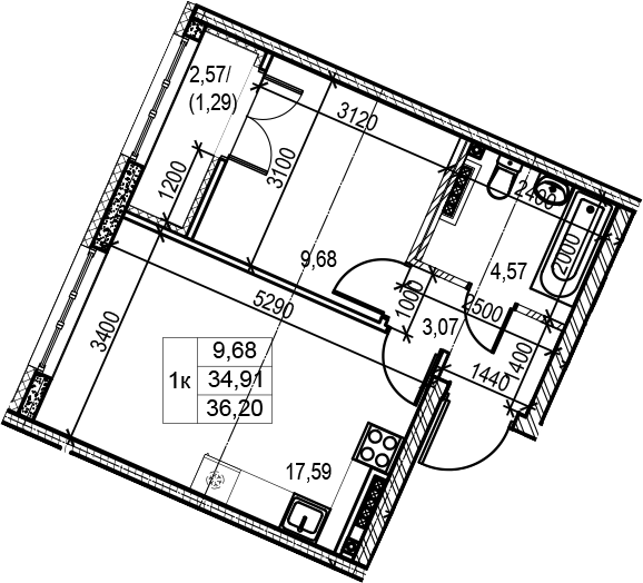 2Е-к.кв, 36.2 м²