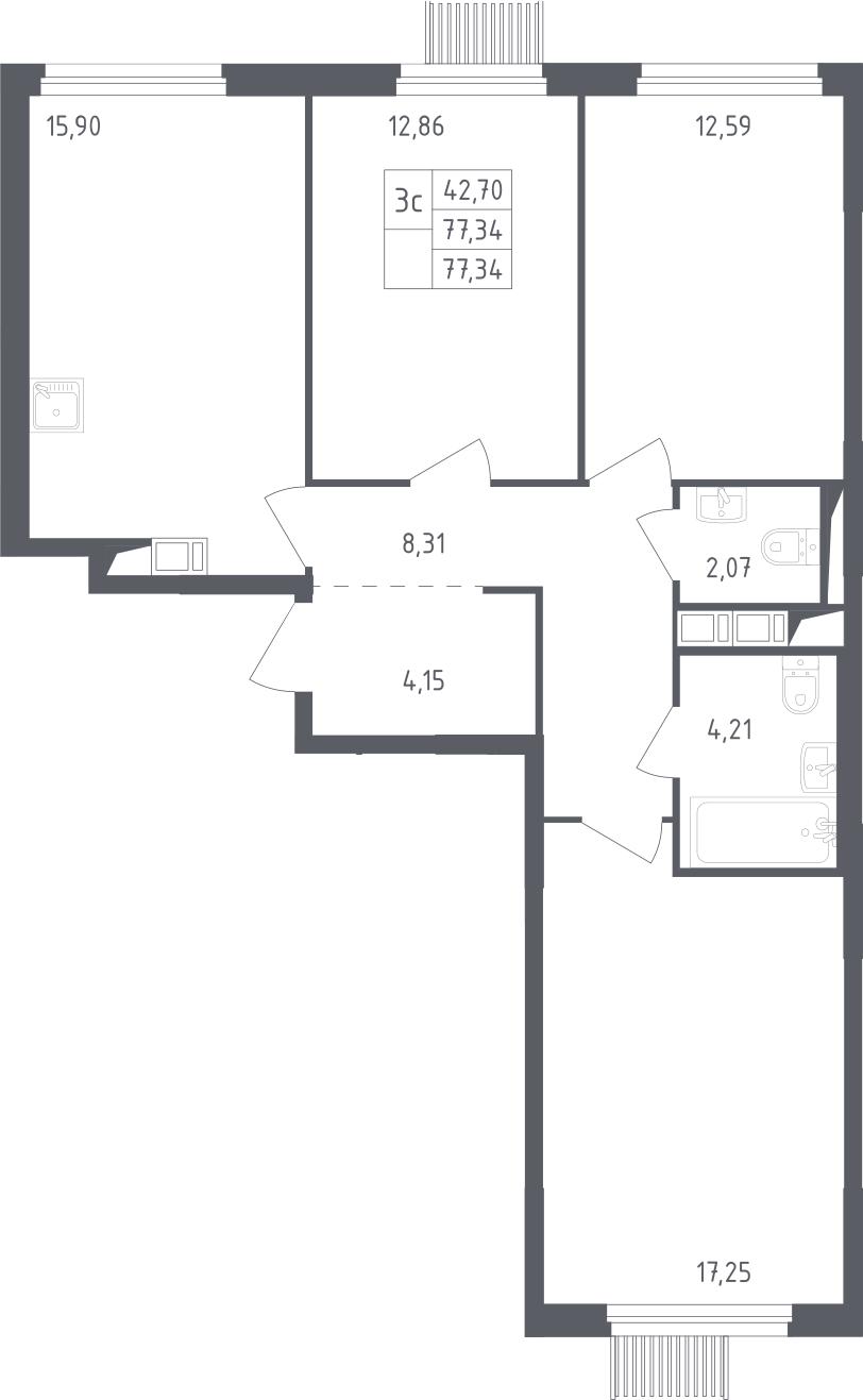 4Е-к.кв, 77.34 м², 8 этаж