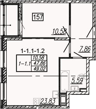 2Е-к.кв, 49.02 м²